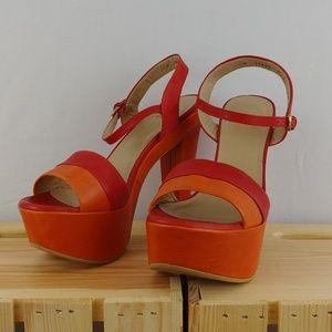 STUART WEITZMAN   red & orange once chunky heels